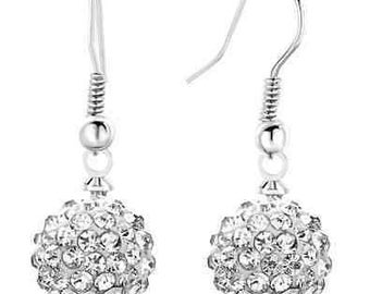 10mm White Shamballa Dangle Drop Swarovski Crystal Pave  Earrings With 925 Sterling Silver French Ear Wires
