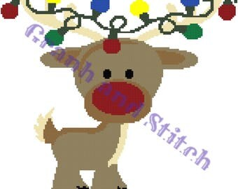 Reindeer - 150 x 150 - graph and written pattern