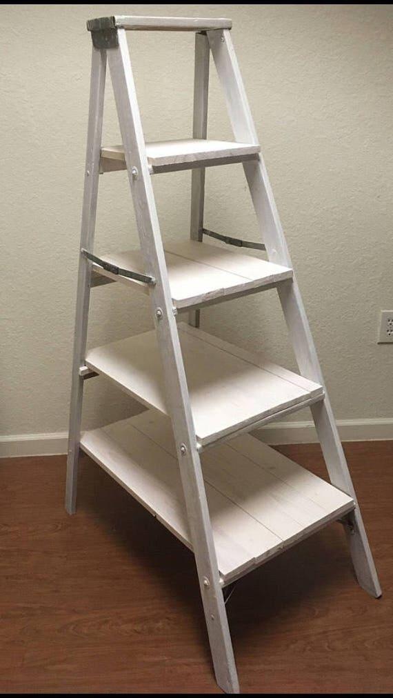 vintage step ladder shelves. Black Bedroom Furniture Sets. Home Design Ideas