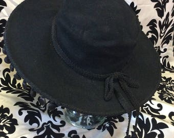 1940's Black Felt Spanish Pom Pom Hat