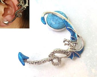 Dragon Ear Cuff, Silver Dragon, sapphire, blue, ear wrap, dragon ear wrap, sapphire ear cuff, gothic, halloween, goth, sparkle, costume