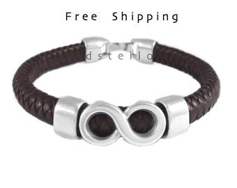 Men's jewelry, infinity bracelet, men's gift idea, cuff bracelet, thick Spanish leather, antiqued silver, custom made cuff