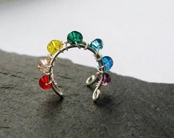 No Piercing Ear Cuff - Pride Ear Cuff  - Rainbow Ear Cuff - Fake Conch Ring - Gay Pride Ear Cuff - Hoop Ear Cuff - Gay Pride Jewelry