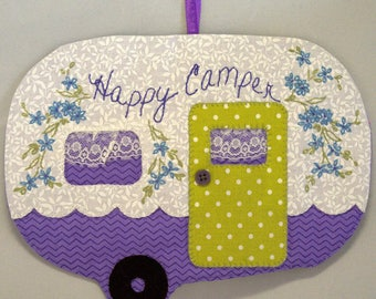 Vintage Trailer Happy Camper Mug Rug - Purple Chevron