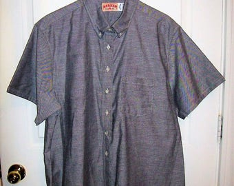 Vintage Ladies Gray Button Front Short Sleeve Uniform Work Shirt Bloluse by Red Kap Size 22 Only 8 USD