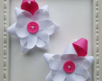 White & Pink Mini Button Flower Hair Clip - White Flower with Pink Leaf - Perfect Baby Gift or Party Favors
