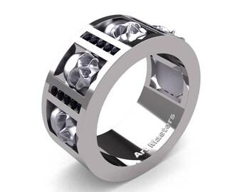 Mens Modern 14K White Gold Channel Black Diamond Skull Wedding Ring R413-14KWGBD