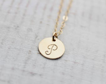 Gold Initial Necklace- Gold Filled Personalized Necklace- Hand Stamped Gold Filled Necklace- Charm Necklace