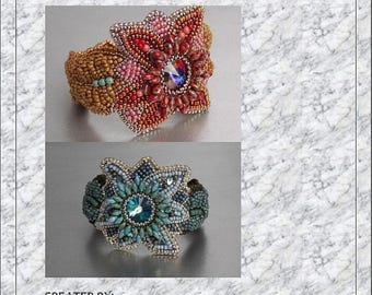 Summer sale -15% DIY , KIT, Pattern, Tutorial and materials,  Bead embroidery ,Beading pattern , Instructions and materials , Flower bracele