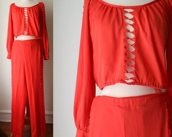 Vintage 1970s 1980s Red Fredericks Of Hollywood Cropped Set
