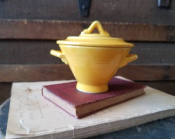 Fiesta Ware Yellow Sugar Bowl - Collectible Co rage Pottery, Bright Yellow Kitchen Decor, Tea + Coffee Sugar Bowl With Matching Yellow Lid