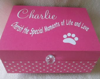 Animal Keepsake Box,  Furbaby  Memory Box,  Pink Keepsake Box