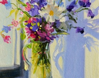 Original Oil Painting FLOWERS IN GLASS jug, floral still life, blue flowers painting, wild flower arrangement,
