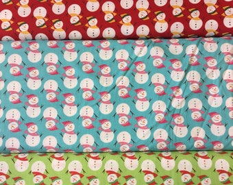 Fabric freedom Christmas Characters collection FF55 Snowmen in red, blue or green by the half metre