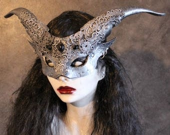 Womans Silver Satyr mask