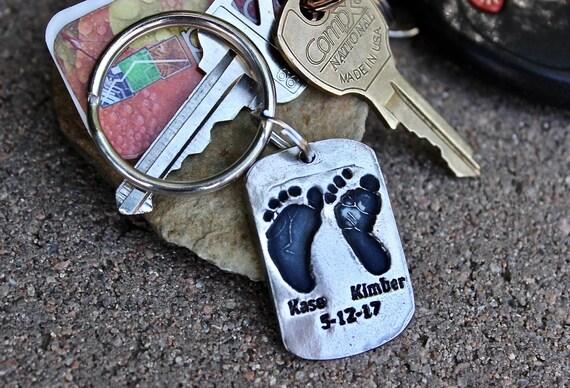 Twins Footprint Keychain, Real Twins Footprints Keychain Gift, Gift for Dad, Birthday Gift for Dad, Keychain for Dad, Grandparent Twin Feet