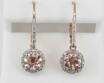 Morganite and Diamond Halo Dangle Drop Earrings Rose Gold Unique Gemstone
