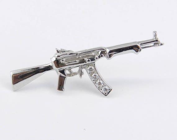 Mens 14K White Gold Diamond Tie Tack AK47 Unique One of a Kind Gun Rifle Pin