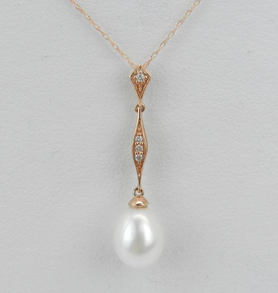 "14K Rose Gold Diamond and Pearl Drop Pendant Wedding Necklace with Chain 18"" June Birthstone"