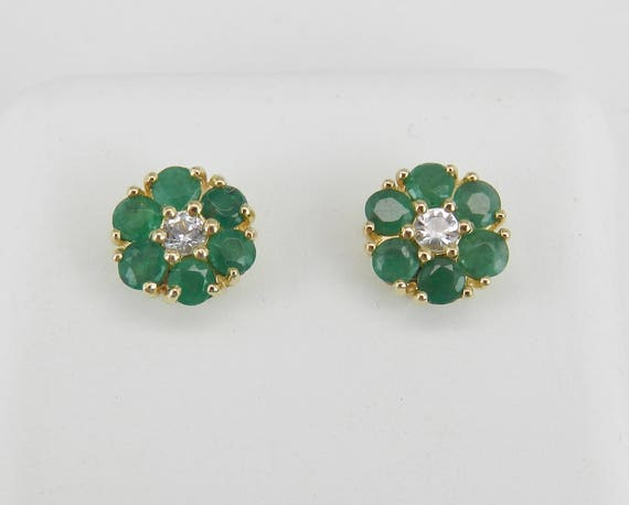 Emerald and White Sapphire Stud Earrings Flower Wedding Studs 14K Yellow Gold
