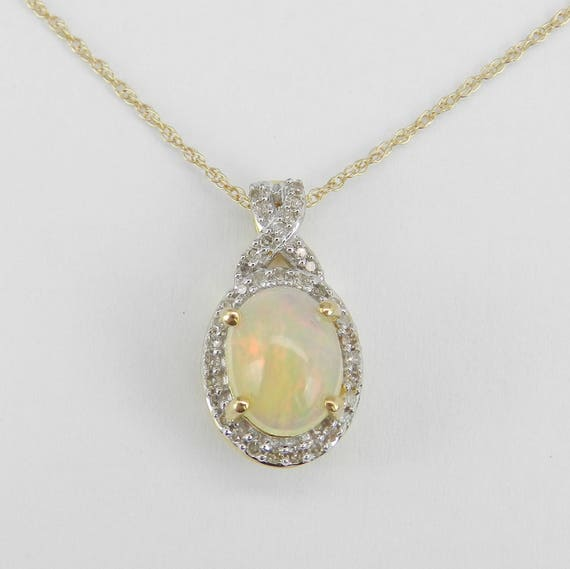 "Diamond and Opal Halo Pendant Necklace Yellow Gold 18"" Chain October Gemstone"