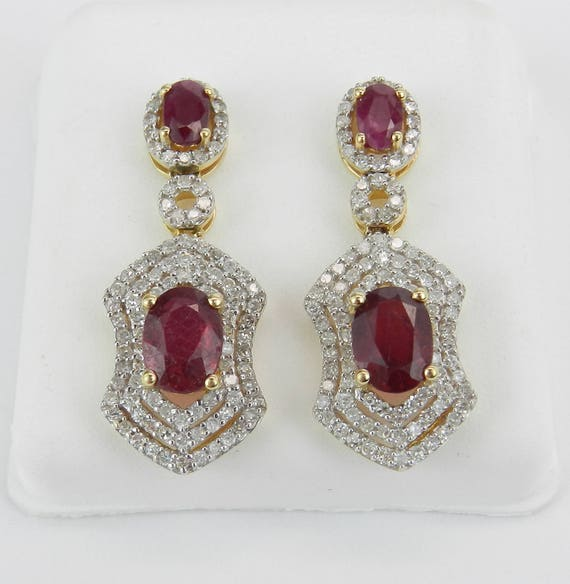 14K Yellow Gold Ruby and Diamond Halo Dangle Drop Earrings Wedding July Gem