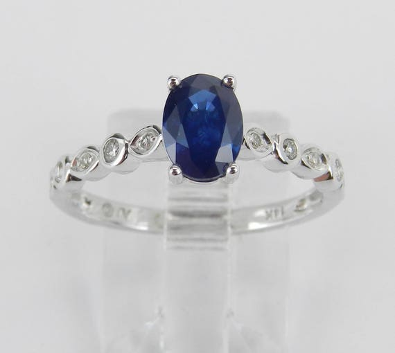 Diamond and Sapphire Engagement Ring September Promise 14K White Gold Size 7