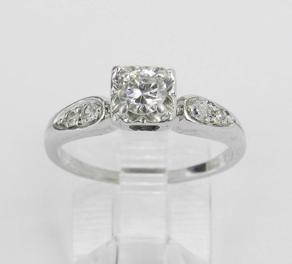 Antique Ring Vintage Ring Diamond Engagement Ring  14K White Gold Genuine Natural Size 6