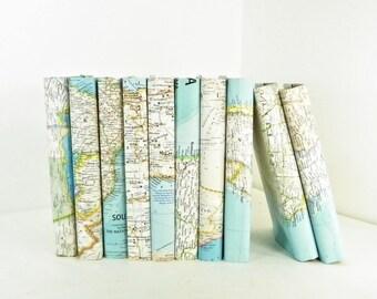 Vintage Book Decor, Vintage Map Book Covers, Vintage National Geographic Maps