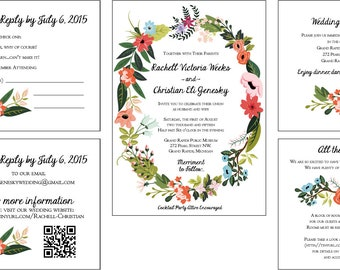 Lovely floral Design Wedding Invitations Flat Panel Style
