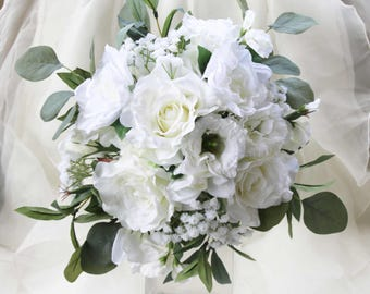 White wedding bouquet. Garden roses, lissianthus, gardenia, sweet peas, eucalyptus and olive foliage. Silk bouquet, bridal, wedding flowers
