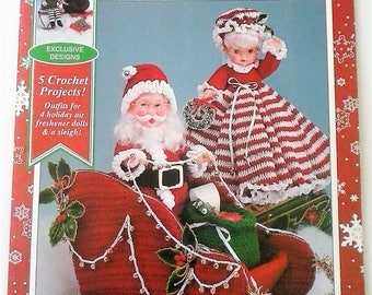 Santa and Friends Air Freshners Crochet Patterns by Fibre Craft - 5 Crochet Projects for 4 Holiday Air Freshener Dolls and a Sleigh - 1996