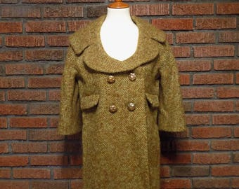 Vintage 60s MAM'SELLE by Betty Carol Tweed Stroller Coat Women's S