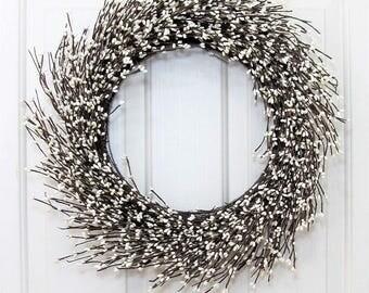 STORM DOOR  - Shabby Chic Wreath - Farmhouse Wreath - Ivory Pip Berry Wreath - Winter Wedding Wreath - Rustic Wreaths - Front Door Wreath