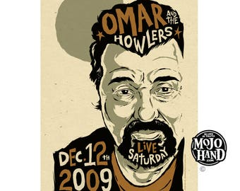 Omar and the Howlers authentic gig poster - austin texas - signed by Grego of mojohand.com