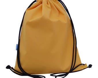 Yellow Drawstring Swim Bag, Waterproof, PE Bag, Backpack, Kids, Adults