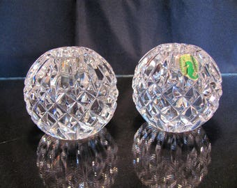 Waterford Round Candle Holders  / Waterford Crystal Candlesticks Made in Ireland