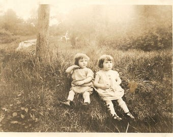 "Vintage Snapshot ""Little Cutie Pies"" Adorable Little Girls Looking Off Camera Idyllic Setting Found Vernacular Photo"