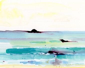 Beach Art Print, Watercolor Print, Ocean Art, Sea Art, landscape art, Modern Art Print, Contemporary Art Print, Square Art