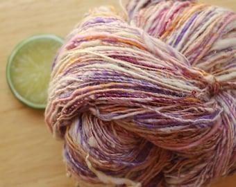 Iced Pansy - Handspun Cormo and Merino Wool Yarn Silk Sparkle Angora Skein