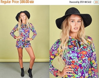 FLASH SALE 60s Floral Colorful Romper Vintage Hippie Purple Flower Playsuit