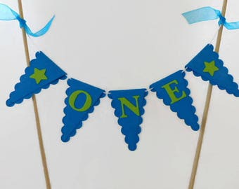 Boys First Birthday Cake Topper - ONE Year Old Boy - Bright Blue, Lime Green