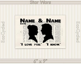 Princess Leia Han Solo Star Wars Silhouette I Love You I Know 4 Names Date Vintage Upcycled Dictionary Art Print Wedding Anniversary Romance