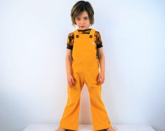 Childrens dungarees yellow cotton corduroy vintage flared or straight leg overalls girls boys baby retro rainbow colorful lemon flares pants