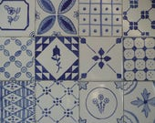 Reserved for Nely - Blue and White Delft French Country majolica patchwork ceramic tiles 4 x 4
