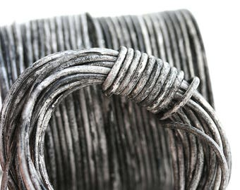 1.5mm Round Natural Leather cord - Distressed Vintage Black, New Color - 10 feet, LC033