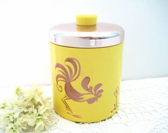 Vintage Kitchen Canister With Rooster, Yellow Metal, Copper Color Lid, By Ransburg, USA