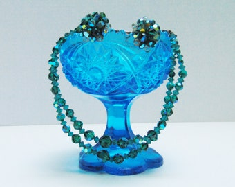 Vintage 50s Rare Teal Turquoise Aurora Borealis Cut Crystal Double Strand Necklace & Cluster Earrings