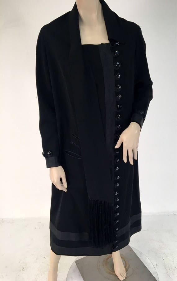 Sale Vintage 1920s Black Gaberdine Car Coat Dress in Excellent Condition, Size 1x