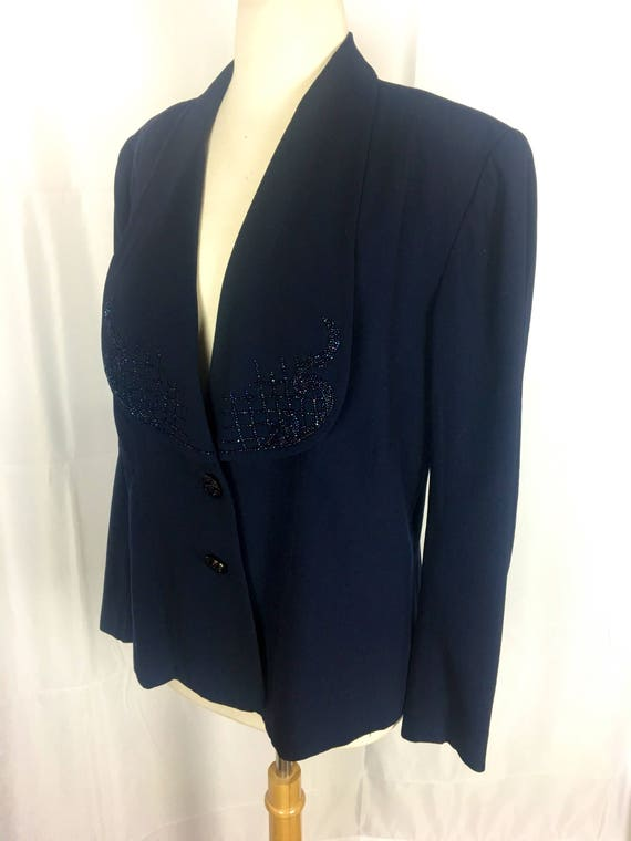 Vintage 1940s Navy Blue Beaded Jacket w Czech Buttons XL